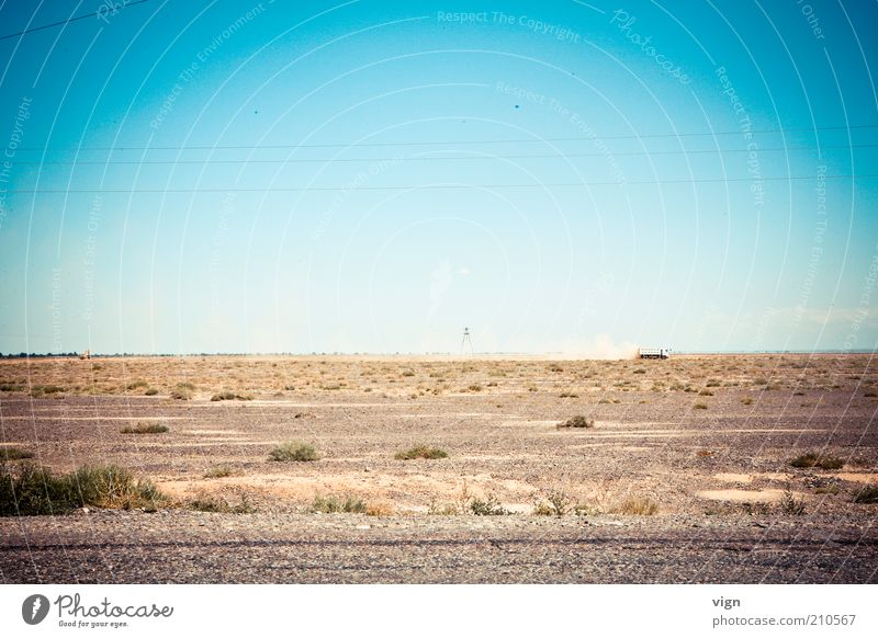 Steppe Pflanze Ferne Landschaft Horizont trist Unendlichkeit Lastwagen trocken Blauer Himmel Dürre Asien Wolkenloser Himmel Kasachstan
