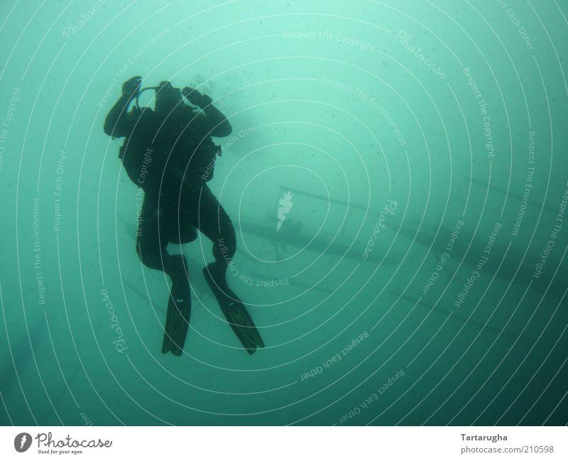 Frogman Mensch Wasser Meer blau Sommer ruhig schwarz Ferne Sport Stimmung Abenteuer Freizeit & Hobby Asien tauchen Wachsamkeit Wassersport