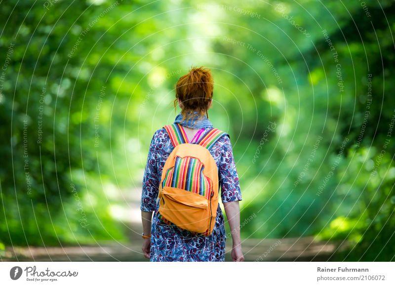 eine Frau geht einsam ihren Weg Mensch Natur Pflanze Sommer Wald Straße Erwachsene Umwelt Frühling Wege & Pfade feminin Stimmung gehen wandern einzigartig