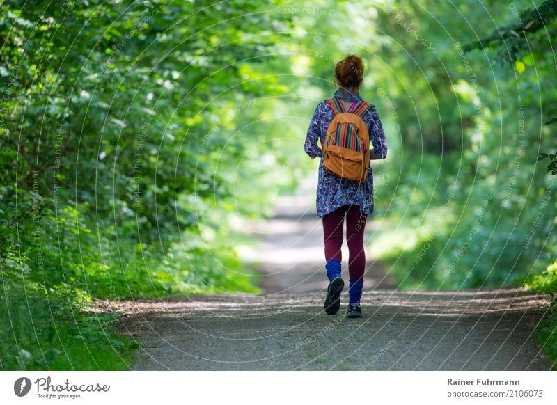 eine Frau geht einsam ihren Weg Mensch Natur Ferien & Urlaub & Reisen Sommer Landschaft Wald Erwachsene Frühling Wege & Pfade feminin Glück Tourismus Freiheit