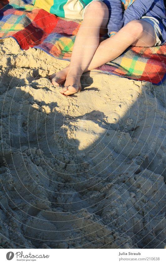 Pique-nique Mensch Jugendliche grün blau rot Sommer Strand Einsamkeit gelb feminin Fuß Sand Beine Haut Erwachsene sitzen