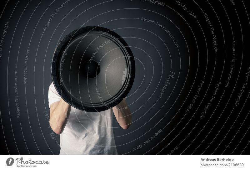 Sag es laut ! Business Lautsprecher Mensch Zeichen verrückt Kraft Ärger Megaphon speaker loudspeaker Mitteilung announcement young black screaming portrait