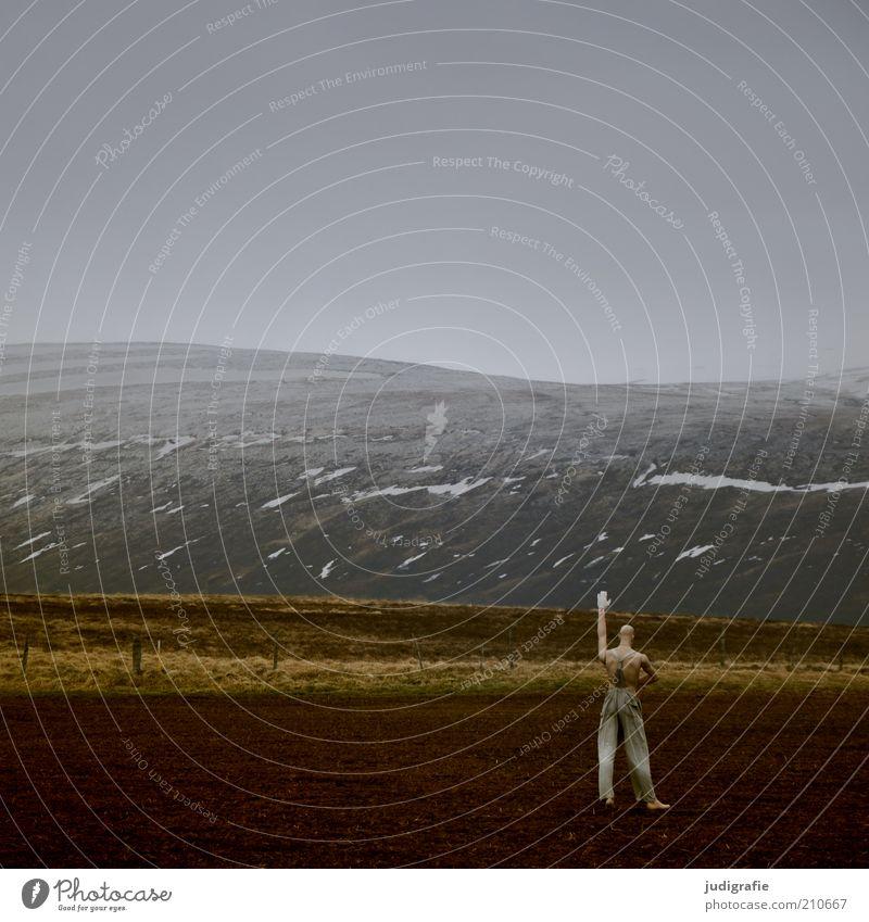 Island Mensch Natur Einsamkeit dunkel kalt Berge u. Gebirge Landschaft Stimmung Feld Kunst Arme maskulin Umwelt modern stehen Klima