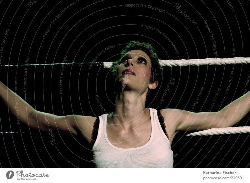 #210691 Frau Mensch schön weiß schwarz feminin Haare & Frisuren braun Erwachsene Arme Seil ästhetisch Coolness dünn festhalten Schminke