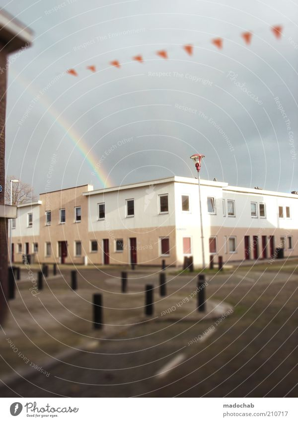 Schöne Welt Stadt Haus Straße Gebäude Architektur klein Verkehr ästhetisch Idylle niedlich Regenbogen Miniatur Tilt-Shift Mehrfamilienhaus Flachdach Flachbau