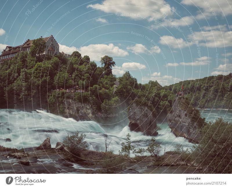 vor dem fall Natur Landschaft Urelemente Wasser Himmel Sommer Wald Hügel Felsen Fluss Wasserfall Burg oder Schloss außergewöhnlich Bekanntheit Geschwindigkeit