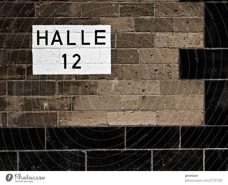 HALLE 12 alt schwarz Haus Wand Architektur Gebäude Mauer braun Schilder & Markierungen Design außergewöhnlich Industrie trist Bauwerk Fabrik Backstein