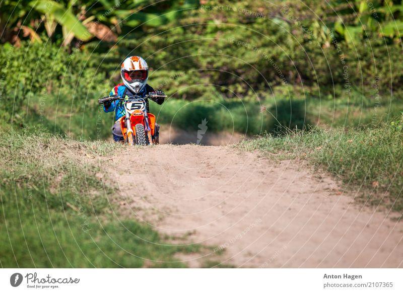 Moto-Cross Motorsport Reiten Rennbahn Junge 1 Mensch 3-8 Jahre Kind Kindheit Motorrad niedlich selbstbewußt Motocross-Rennen Jugendliche Sport Urwald Straße