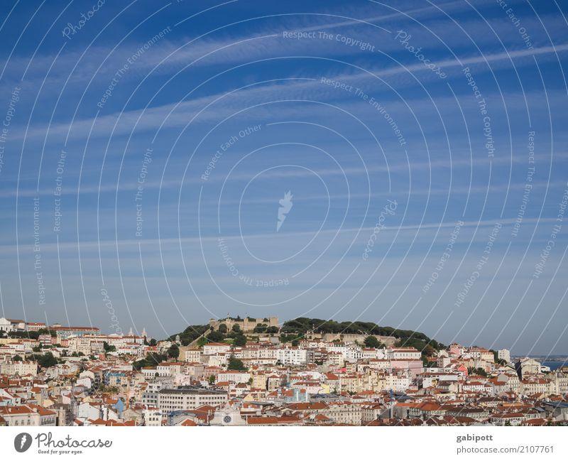 Lissabon Sommer Schönes Wetter Portugal Stadt Hauptstadt Stadtzentrum Haus Ferien & Urlaub & Reisen Horizont Perspektive Wachstum Häusliches Leben Hügel eng