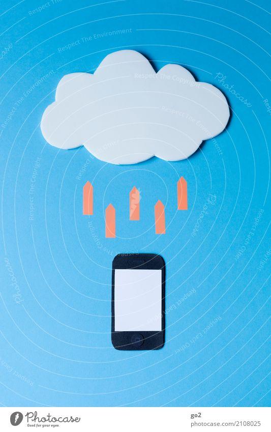 Ab in die Cloud Wolken sprechen Schule Büro Kommunizieren Technik & Technologie Telekommunikation Computer Studium Zeichen Netzwerk Internet Handy Pfeil