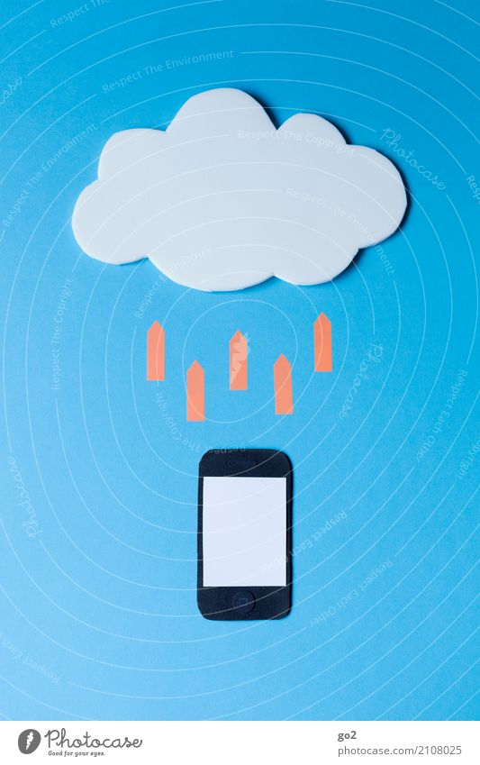 Ab in die Cloud Wolken sprechen Schule Büro Kommunizieren Technik & Technologie Telekommunikation Computer Studium Zeichen Netzwerk Internet Handy Pfeil Informationstechnologie Sitzung