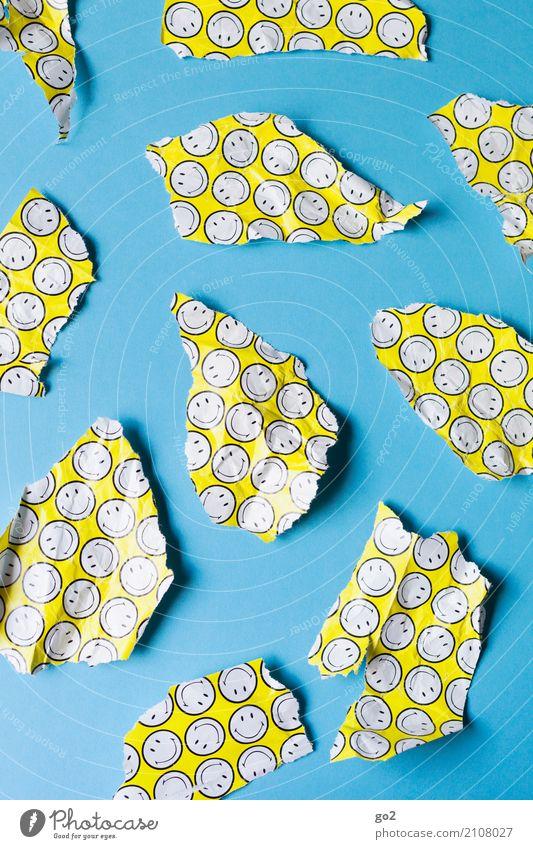 Gute Laune Schlechte Laune Geburtstag Papier Geschenkpapier Müll Zeichen Smiley lustig positiv blau gelb Freude Glück Fröhlichkeit Zufriedenheit Lebensfreude