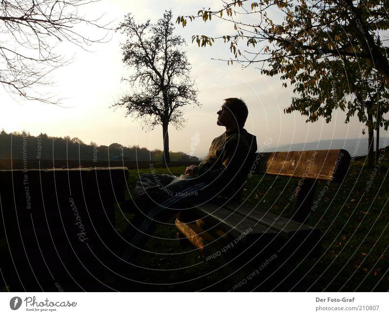 Entspanntes Warten Mensch Jugendliche Baum ruhig Einsamkeit Ferne Erholung Garten träumen Denken Landschaft Zufriedenheit Stimmung Erwachsene maskulin Meditation