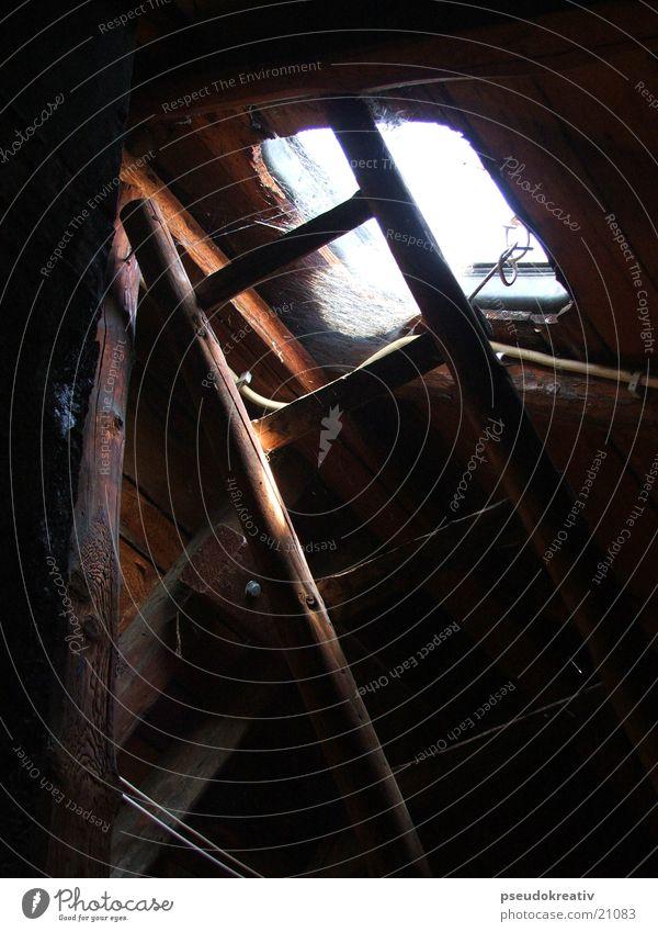 Georg Dach Dachboden Spinnennetz Fenster Holz Leiter alt Balken
