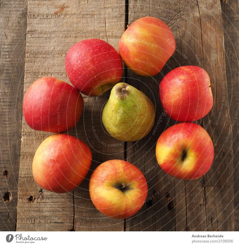 Frisches Obst Gesundheit Frucht süß lecker Bioprodukte Apfel Diät Holztisch Birne vitaminreich