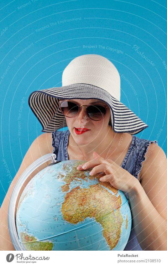 #A# Urlaub! Aber wo? Frau Ferien & Urlaub & Reisen Sommer Kunst Erde Freizeit & Hobby ästhetisch Europa lernen planen Richtung Sommerurlaub Suche zeigen Hut