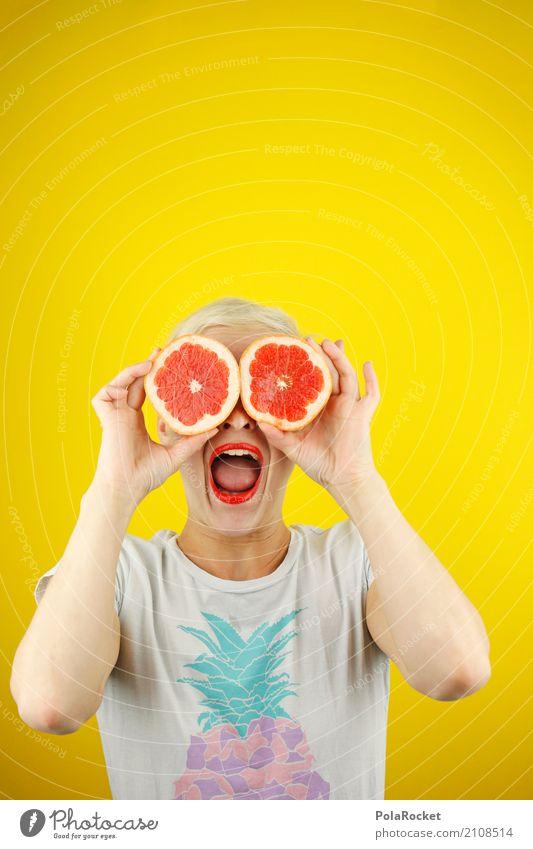 #A# uuuaaahhh! Kunstwerk ästhetisch Kreativität dumm gelb Blick Show Orange Blutorange Grapefruit lachen Unsinn Freude spaßig Spaßvogel Spaßgesellschaft Hand