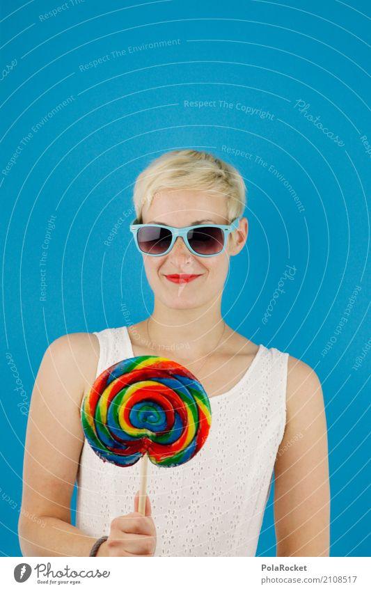#A# Happy Kunst ästhetisch Frau Lollipop süß schön Süßwaren Süßstoff Süßwarenstand lecker ungesund Coolness Belohnung Sonnenbrille blau Farbfoto mehrfarbig