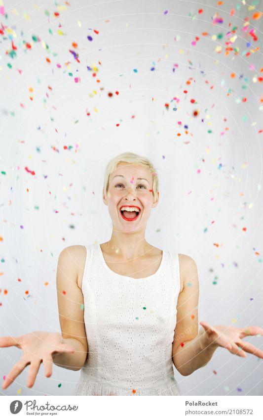 #A# Konfetti-Regen Kunst Kunstwerk ästhetisch Frau viele mehrfarbig Freude Überraschung Freudenfeuer Geschenk spaßig Spaßvogel Spaßgesellschaft Partystimmung
