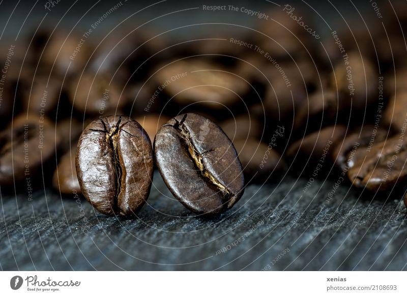 Zwei kuschelnde Kaffeebohnen auf einer Schieferplatte Kaffeetrinken Heißgetränk Küche Café Duft braun schwarz Koffein Kaffeevollautomat Studioaufnahme