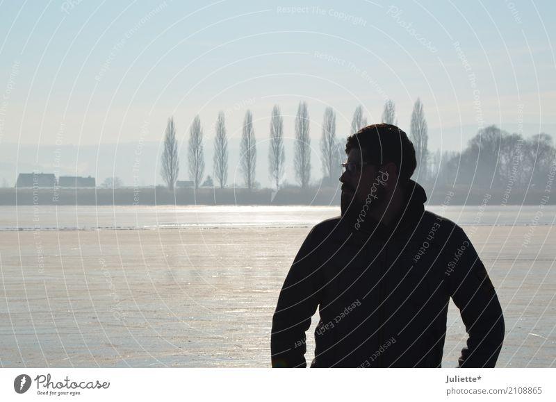Men on ICE _2 Wohlgefühl Zufriedenheit Insel Winter maskulin Junger Mann Jugendliche Erwachsene Partner 1 Mensch Natur Landschaft Wasser Himmel