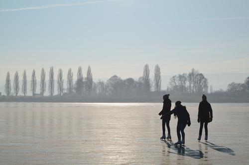 On Ice_2 Mensch Natur Ferien & Urlaub & Reisen Jugendliche blau weiß Baum Landschaft Freude Winter schwarz feminin Glück See Stimmung Zusammensein