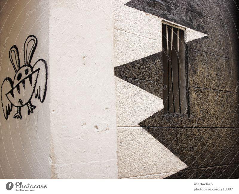 Bissspuren Wand Stil Mauer Graffiti Design Lifestyle Zeichen Detailaufnahme trendy Kunst Zickzack Comicfigur