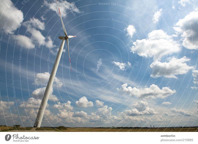 Alternative Natur Himmel Sommer Wolken Ferne Landschaft Kraft Feld Umwelt Horizont Energiewirtschaft Zukunft Technik & Technologie Erneuerbare Energie Sehnsucht Windkraftanlage