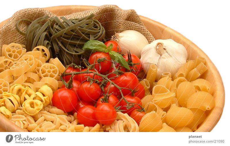 Pasta in Schale Nudeln Tomate Knoblauch Schalen & Schüsseln Ernährung Gastronomie Pastellton mehrfarbig Restaurant Appetit & Hunger Freisteller