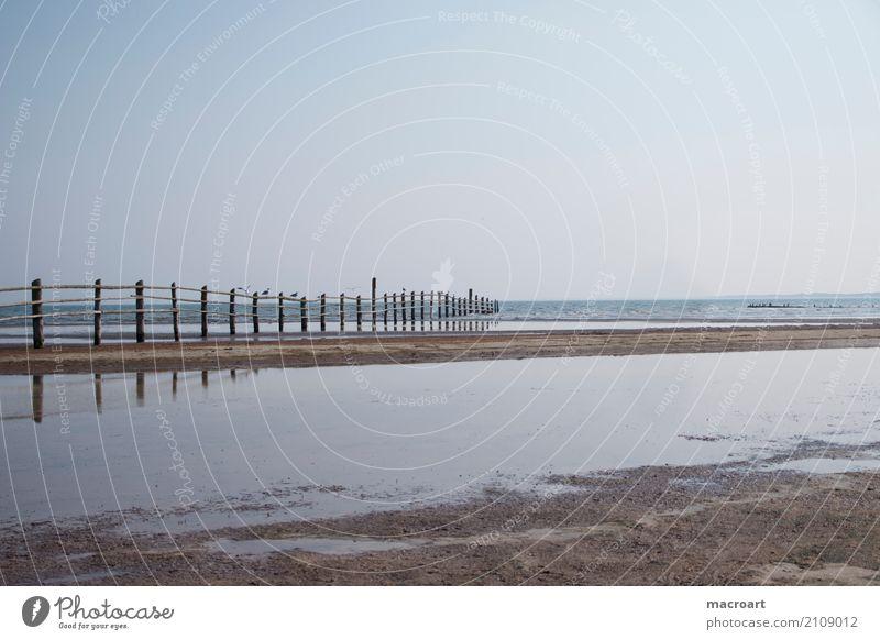 Sandstrand mit Holzzaun Strand Ebbe Flut See Ostsee Nordsee Naturschutzgebiet Zaun Wasser Gewässer Meer Wolken grau Himmel Sommer Erholung ruhig Pause ausruhend