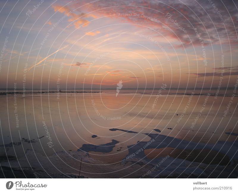 Schweriner Abenddämmerung Landschaft Luft Wasser Himmel Wolken Sonnenaufgang Sonnenuntergang Winter See Natur Farbfoto Außenaufnahme Dämmerung Totale