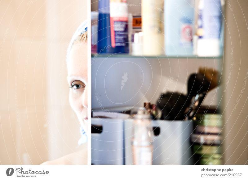 Spieglein, Spieglein II... Jugendliche schön Gesicht Auge feminin träumen Denken Erwachsene elegant Bad Spiegel Teilung Schminke Kosmetik