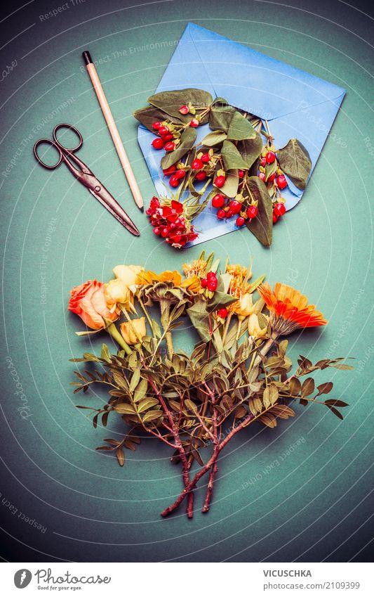 Herbst Blumenstrauß mit Briefumschlag Stil Design Freizeit & Hobby Häusliches Leben Feste & Feiern Natur Pflanze Rose Blatt Blüte Dekoration & Verzierung gelb