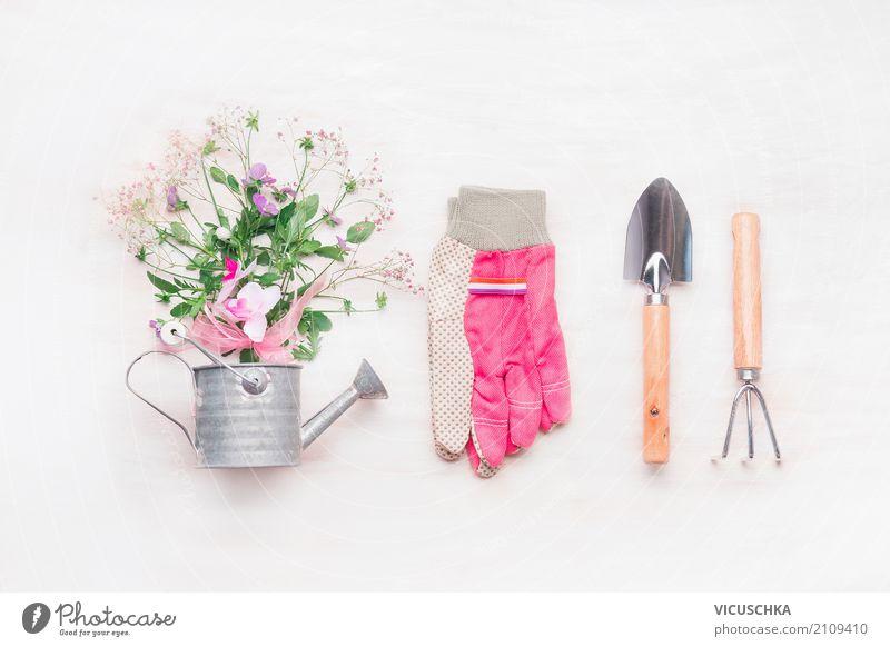 Garten Handgeräte, Gießkanne und Blumen Natur Pflanze Sommer Stil rosa Design Häusliches Leben Freizeit & Hobby Dekoration & Verzierung Zeichen Blumenstrauß