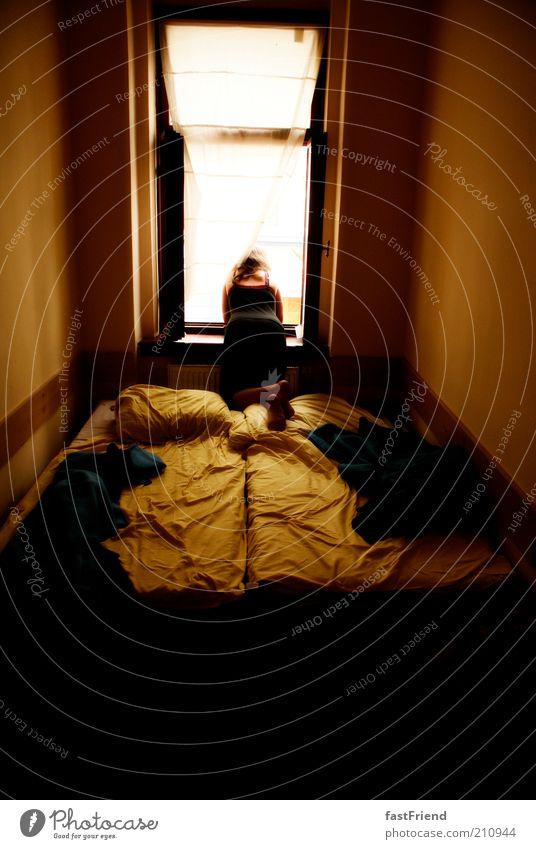 schöne Aussichten Wohnung Bett Raum Mensch 1 Fenster Erholung Blick sitzen braun gold geduldig ruhig Sehnsucht Trägheit Farbfoto Gedeckte Farben Innenaufnahme