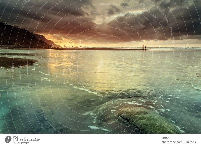 Strandgefühl Mensch Natur Ferien & Urlaub & Reisen Sommer Landschaft Meer ruhig Küste Glück Zusammensein Stimmung Freundschaft Felsen Wellen Idylle