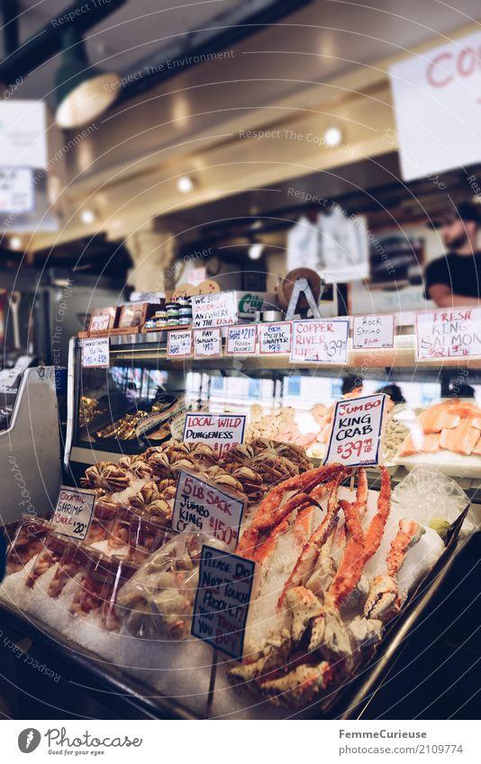 Roadtrip West Coast USA (246) Lebensmittel Ernährung Eis frisch genießen Fisch Fischereiwirtschaft Englisch Preisschild Meeresfrüchte Krabbe Fischmarkt