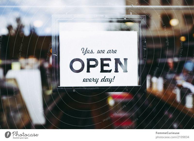 Roadtrip West Coast USA (223) Stadt Handel open offen Geschäftszeiten täglich Schilder & Markierungen Café Restaurant Ladengeschäft Hinweisschild Sonnenstrahlen