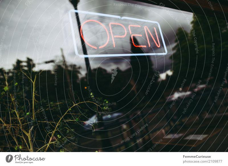 Roadtrip West Coast USA (203) Pflanze Schriftzeichen offen Kommunizieren Schilder & Markierungen Hinweisschild Zeichen Café Ladengeschäft Leuchtreklame