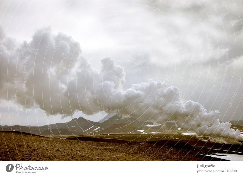 Island Umwelt Natur Landschaft Urelemente Erde Himmel Wolken Klima Hügel Berge u. Gebirge Vulkan Krafla außergewöhnlich bedrohlich dunkel fantastisch gigantisch