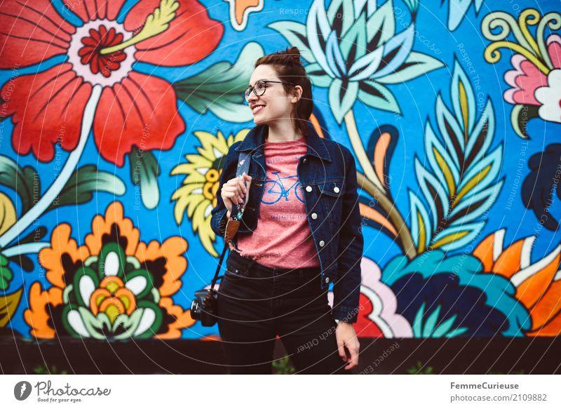 Roadtrip West Coast USA (196) feminin Junge Frau Jugendliche Erwachsene Mensch 18-30 Jahre 30-45 Jahre schön Kreativität Wandmalereien Gemälde Blüte mehrfarbig