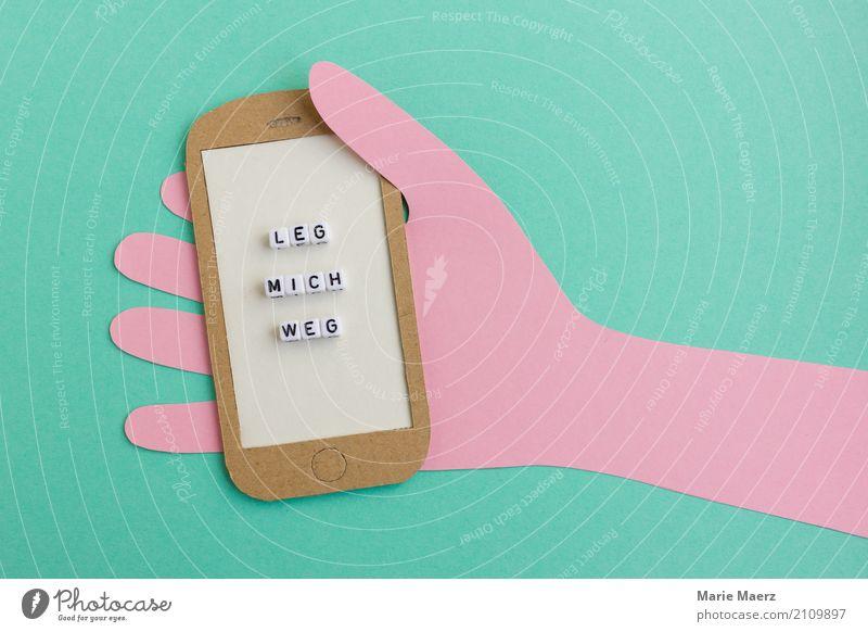 Leg mich weg Hand Erholung außergewöhnlich Freiheit Arbeit & Erwerbstätigkeit Freizeit & Hobby Kommunizieren Freundlichkeit lesen festhalten Handy türkis