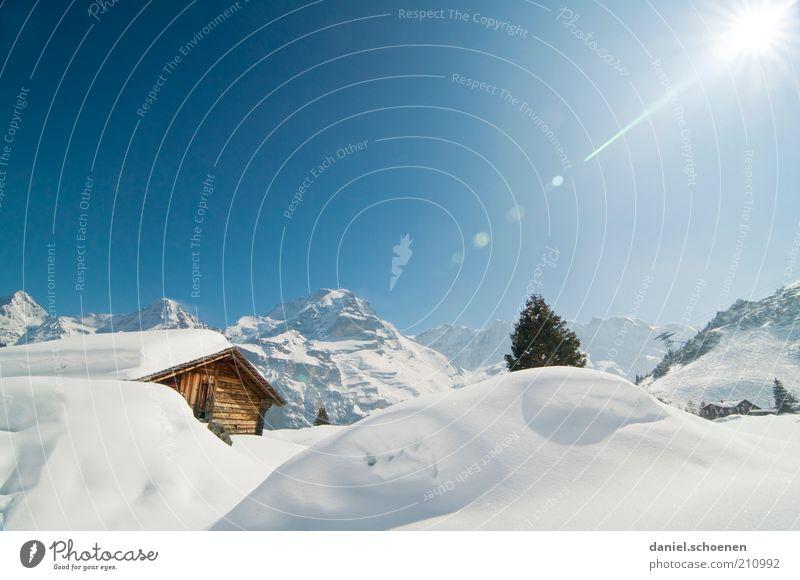 ...der Winter kommt bestimmt !! weiß Sonne blau Ferien & Urlaub & Reisen Schnee Berge u. Gebirge Landschaft Tourismus Klima Schweiz Alpen Hütte Schönes Wetter