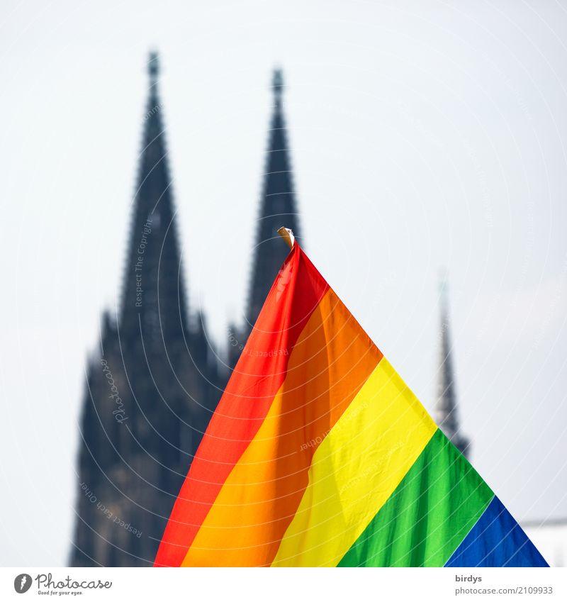 CSD in Köln Farbe Erotik Freude Leben Liebe Gefühle Zusammensein leuchten Sex Zeichen Hoffnung Symbole & Metaphern Fahne Veranstaltung Gesellschaft (Soziologie)