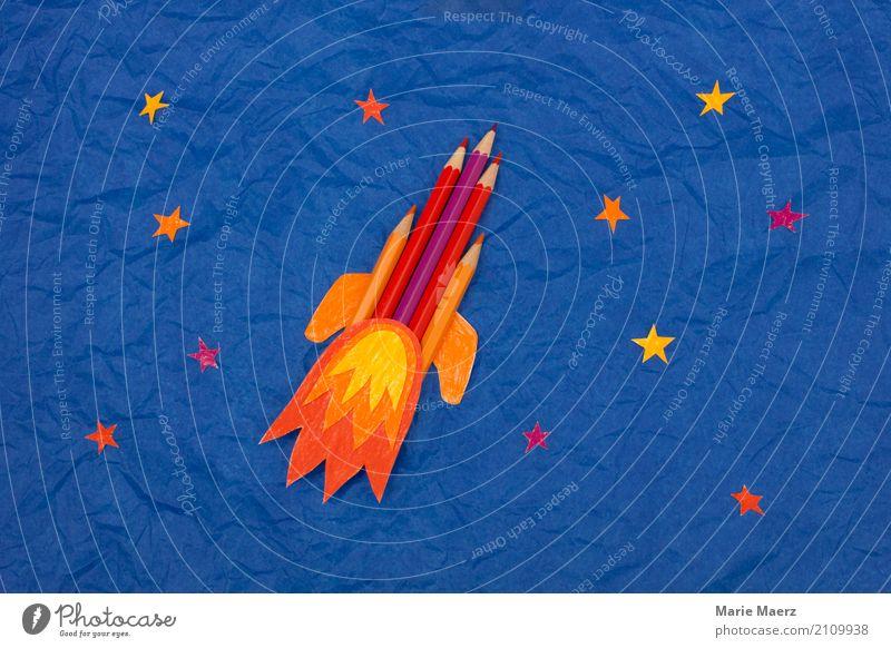 Stiftrakete Himmel Freude Hintergrundbild außergewöhnlich Schule fliegen Freizeit & Hobby träumen Kraft Erfolg Beginn lernen Idee Coolness Neugier Bildung