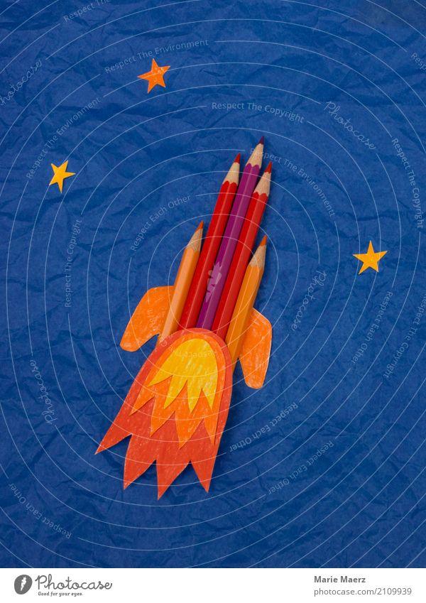 Rakete aus Buntstiften blau Freude Hintergrundbild Schule Kraft Erfolg Zukunft einzigartig Geschwindigkeit lernen Idee Coolness Neugier Weltall Bildung