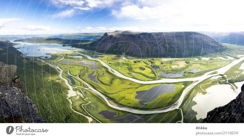 Sarek, ich komme! Natur blau grün Landschaft Erholung Einsamkeit ruhig Ferne Berge u. Gebirge Wege & Pfade außergewöhnlich Horizont frei Idylle Perspektive