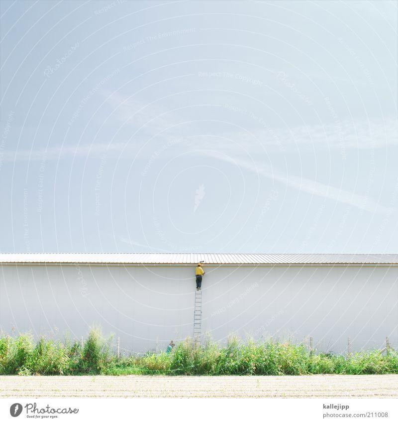 wetterfrosch Arbeit & Erwerbstätigkeit Beruf Handwerker Baustelle Wirtschaft Industrie Mensch maskulin Mann Erwachsene 1 Metall planen Leiter Klettern Erfolg