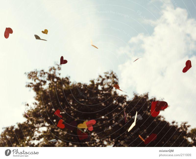 From Heaven. Baum rot Liebe Leben Herbst Gefühle Spielen Freiheit Herz Kunst Wind fliegen ästhetisch retro Frieden Symbole & Metaphern