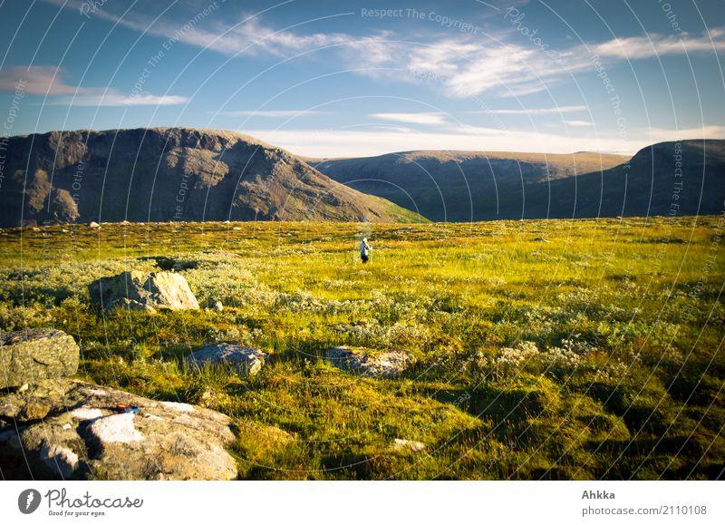 Abendstimmung im Sarek, einsamer Mensch Natur Ferien & Urlaub & Reisen Sommer Landschaft Erholung Einsamkeit ruhig Ferne Berge u. Gebirge Wege & Pfade Glück